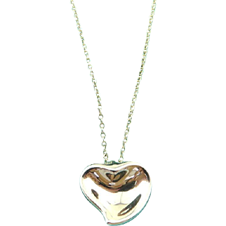 Authentic TIFFANY & CO Sterling Silver Carved Heart Pendant Necklace
