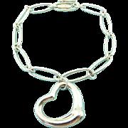 Authentic TIFFANY & CO Sterling Silver Elsa Peretti Open Heart Bracelet