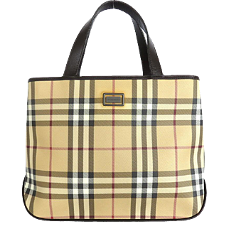 Authentic BURBERRY Nova Check PVC Leather Beige Dark Brown Handbag Bag Purse