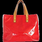 Authentic LOUIS VUITTON Monogram Vernis Reade Rouge Small Handbag Bag