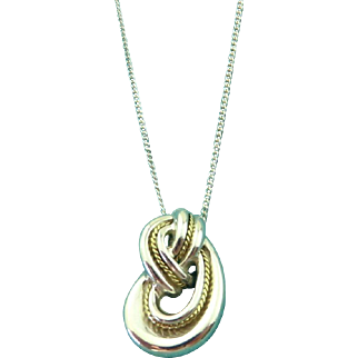 Authentic TIFFANY & CO Sterling Silver 18K Gold Knot Pendant Necklace Rare