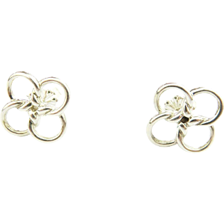 Authentic TIFFANY & CO Sterling Silver Four-leaf Clover Quadrifoglio Earrings