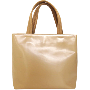 Authentic PRADA Beige Leather Nylon Handle handbag Purse
