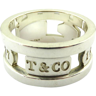 Authentic TIFFANY & CO Sterling Silver 1837 Elements Ring Size 6