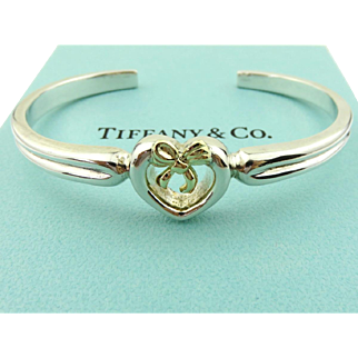 Authentic TIFFANY & CO Sterling Silver 18K Gold Ribbon Bow Bracelet Cuff Rare