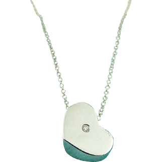 Authentic TIFFANY & CO Sterling Silver Modern Heart Diamond Pendant Necklace