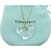 Authentic TIFFANY & CO Clear Open Heart 18K Gold Pendant Necklace