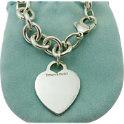 Authentic TIFFANY & CO Sterling Silver Heart Tag Chain Link Bracelet