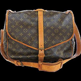 Authentic LOUIS VUITTON Monogram Canvas Leather Saumur 35 Cross Body Bag