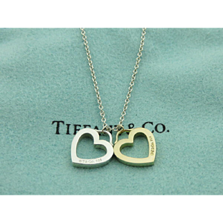 Authentic TIFFANY & CO Sterling Silver 18K Gold Double Heart Pendantt Necklace