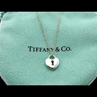 Authentic TIFFANY & CO Sterling Silver Mini Heart Lock Pendant Necklace