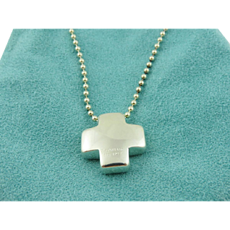 Authentic TIFFANY & CO Sterling Silver Cross Bead Chain Pendant Necklace