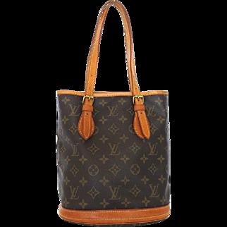 Authentic LOUIS VUITTON Monogram Canvas Leather Petit Bucket Bag
