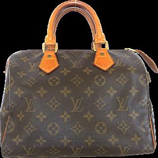 Authentic LOUIS VUITTON Monogram Canvas Leather Speedy 25 Handbag Bag Purse