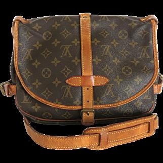 Authentic LOUIS VUITTON Monogram Canvas Leather Saumur 30 Cross Body Bag