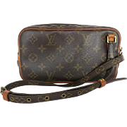 Authentic LOUIS VUITTON Monogram Canvas Leather Marly Cross Body Bag