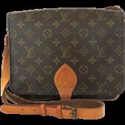 Authentic LOUIS VUITTON Monogram Canvas Leather Cartouchiere GM Cross Body Bag
