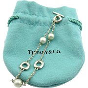 Authentic TIFFANY & CO Sterling Silver Cushion Pearl Toggle Bracelet