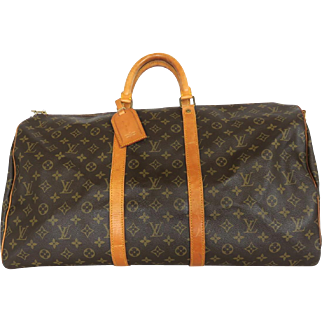 Authentic LOUIS VUITTON Monogram Canvas Leather Keepall 50 Boston Travel Bag