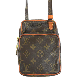 Authentic LOUIS VUITTON Monogram Canvas Leather Mini Amazon Cross Body Bag