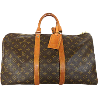 Authentic LOUIS VUITTON Monogram Canvas Leather Keepall 45 Boston Travel Bag