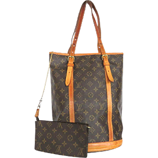 Authentic LOUIS VUITTON Monogram Canvas Leather Bucket Shoulder Bag with Pouch