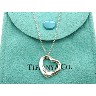 Authentic TIFFANY & CO Sterling Silver Open Heart Pendant Necklace