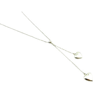 Authentic TIFFANY & CO Sterling Silver Double Heart Dangle Necklace