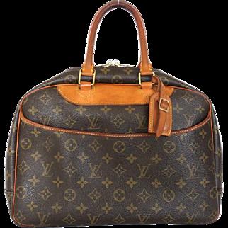 Authentic LOUIS VUITTON Monogram Canvas Leather Deauville Handbag Bag