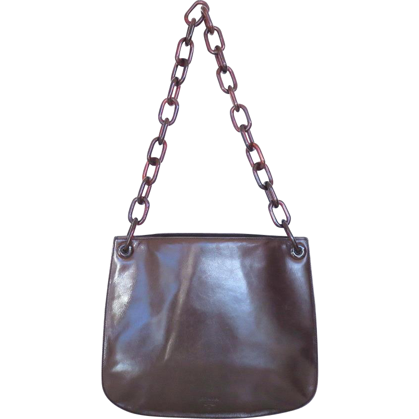 prada saffiano vernice promenade crossbody bag - Authentic PRADA Dark Brown Leather Plastic Chain Shoulder Bag ...