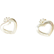 Authentic TIFFANY & CO Sterling Silver Heart Pierced Earrings