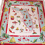 1950's Kitschy Florida Souvenir Tablecloth With Flamingos