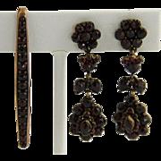 Antique Victorian Bohemian Rose Cut Garnet Earrings + Brooch
