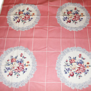 40's 50's Vintage Linen Printed Floral Tablecloth