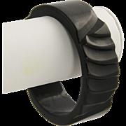 Carved Black Bakelite Plastic Bangle Bracelet