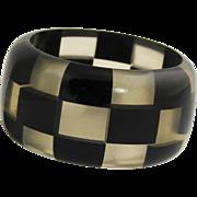 3 Row Black & Clear Plastic Checker Bangle Bracelet
