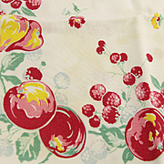 Fun & Bright Vintage 50's Printed Linen Tea or Dish Towel