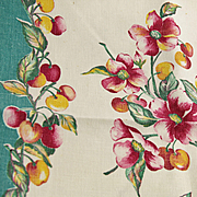 50's Vintage Printed Linen Tea or Dish Towel Fruit & Flowers Cherries