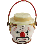 Japan Ceramic CLOWN Biscuit Cracker Cookie Jar with Handle