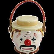 Japan Ceramic CLOWN Biscuit Cracker Cookie Jar with Handle