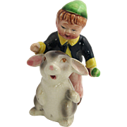 1950's JAPAN Boy & Bunny Rabbit Figural Salt & Pepper Shakers