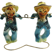 RARE 1950's Japan Scarecrow Salt & Pepper Shakers With Stand