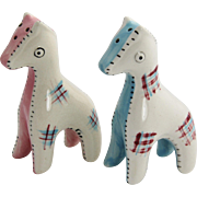 1950's California Pottery Stitched Giraffe Salt & Pepper Shakers Possibly Brayton
