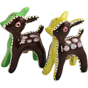 1950's California Pottery Stitched Deer Salt & Pepper Shakers Possibly Brayton
