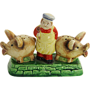 RARE Made In Japan Majolica Salt & Pepper Pigs Butcher with Stand - Red Tag Sale Item