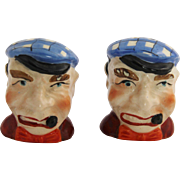 1950's Scottish Man with Pipe & Tam Hat Salt & Pepper Shakers