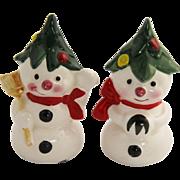 50's Japan Christmas Tree Snowman Salt & Pepper Shakers