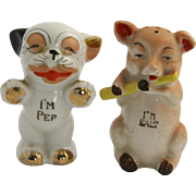 40s 50s Bonzo Dog & Pig Salt & Pepper Shakers