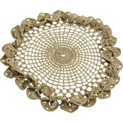 Victorian - Early 1900's Hand Crochet Doily with 3D Scalloped Edge