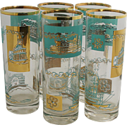 5 Libbey 1968 Southern Comfort Promotion Advertising Bar ware Tall Iced Tea Glasses Steam Boat Ships